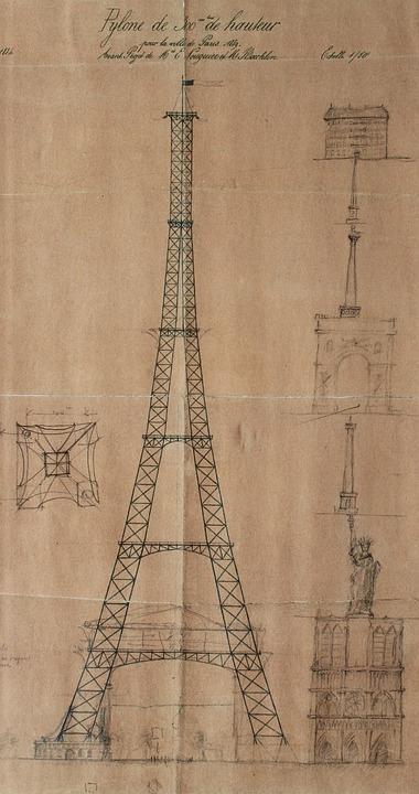 Чертеж на айфеловата кула от кибритени клечки