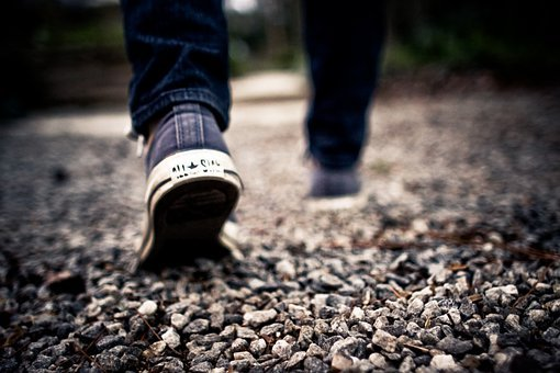 Walking, Feet, Gravel, Path, Shoes, Walk