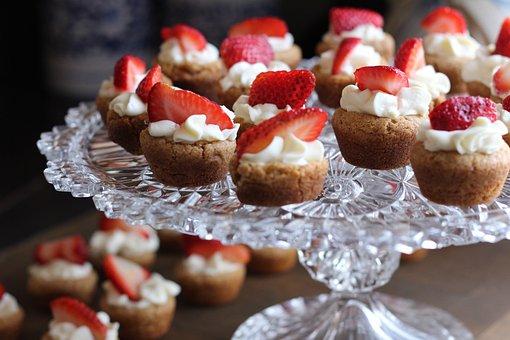 デザート, イチゴ, タルト, ベリー, フルーツ, カップケーキ, ケーキ