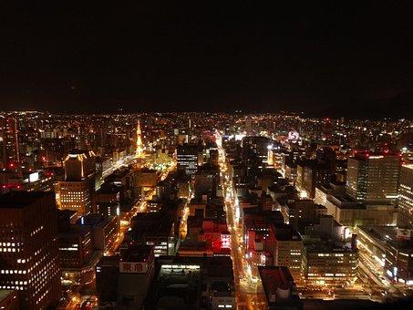 夜景, 夜, 日本, 札幌, 建物, タワー