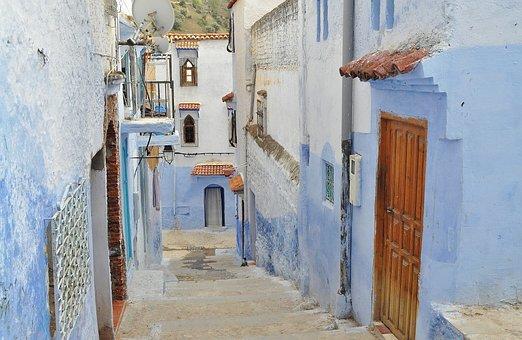 Vicolo, Città, Vecchio, Blu, Case
