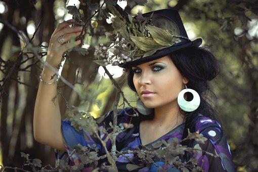 Beauty, Woman, Flowered Hat, Cap