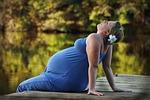 woman, pregnant, pier