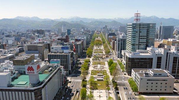 日本, 札幌市, パノラマ ビュー, 都市, アーキテクチャ, 建物, 市, 空
