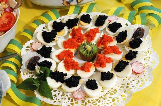 Buffett, Egg, Caviar, Salmon, Eat, Food