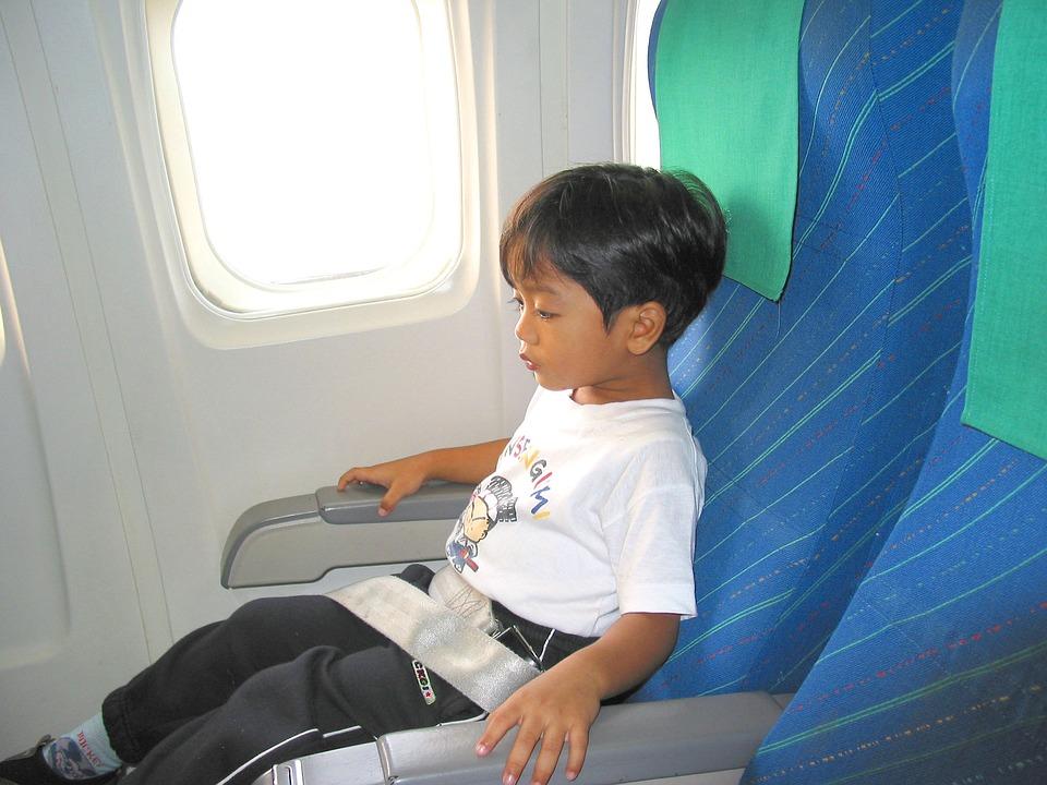 Filho, Garoto, Avião, Assento, Cinto De Segurança, Voar