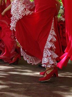 Red, Skirts, Spanish, Shoes, Dance