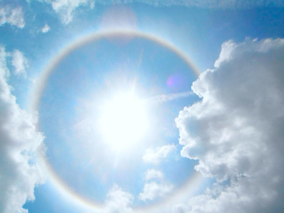 Halo, Sun, Sky, Light, Sunlight, Rays, Clouds, Solar