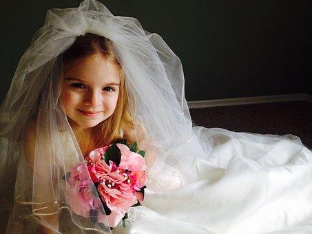ウェディング ドレス, 子, 女の子, 小さな女の子, 美しい, ドレス