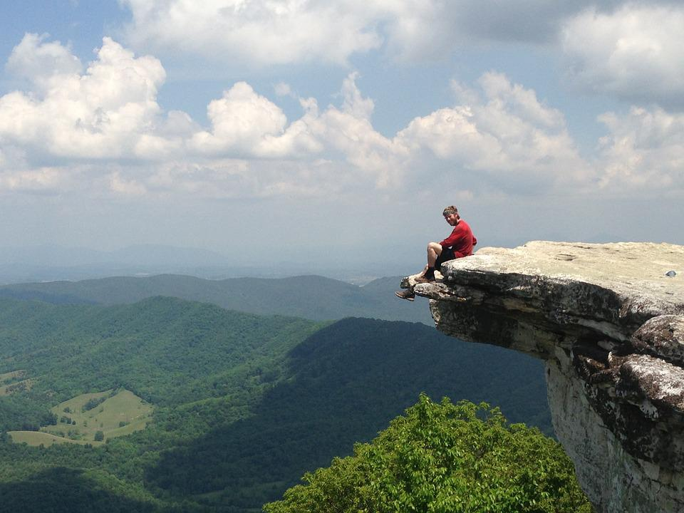 Free Photo Man Sitting Rock Knob Hiking Free Image