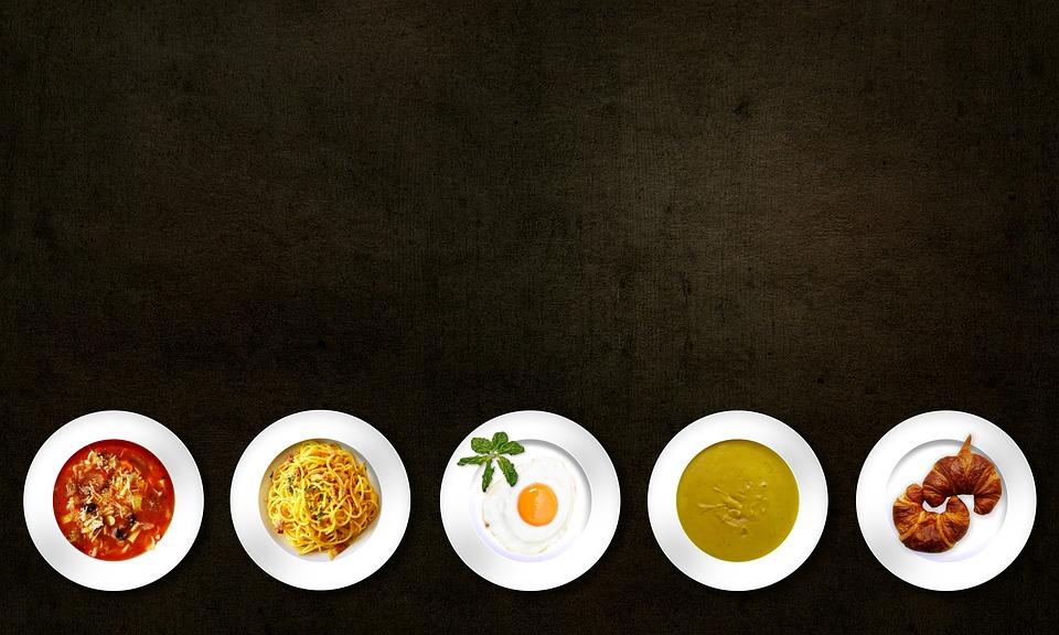 食品, 料理, 食事, スープ, パスタ, 卵, パン, クロワッサン, おいしい, プレート