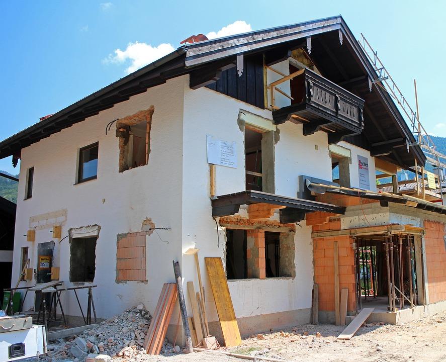 Haus Gebäude Umbau Anbau Baustelle Bauarbeiten
