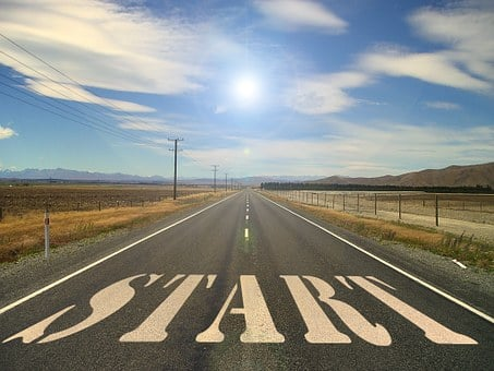 A deserted road with the word START as initial task for Wealthy Affiliate super affiliate challenge
