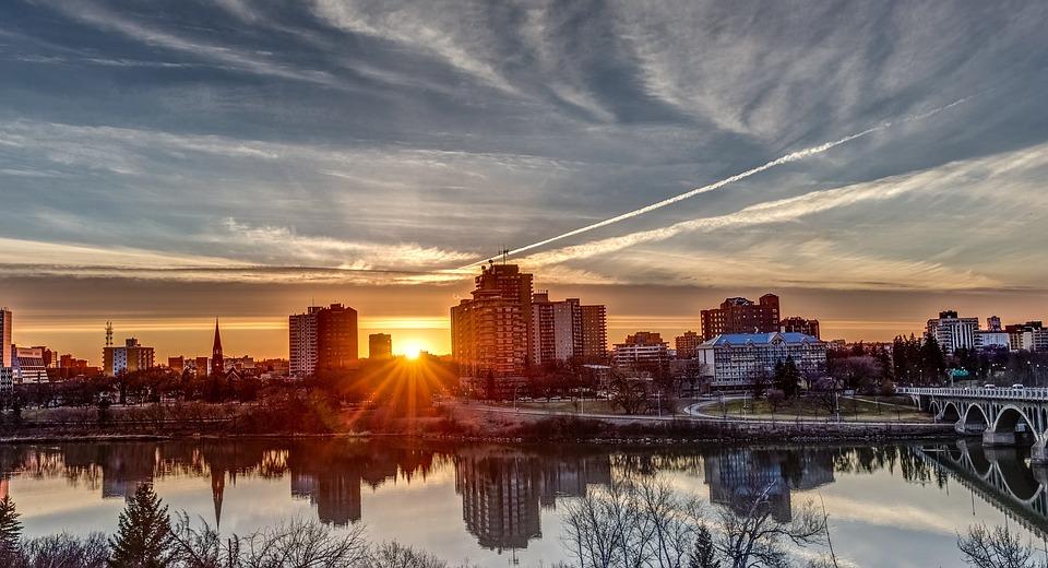 Sunset, Saskatoon, Landscape, Reflection, Saskatchewan