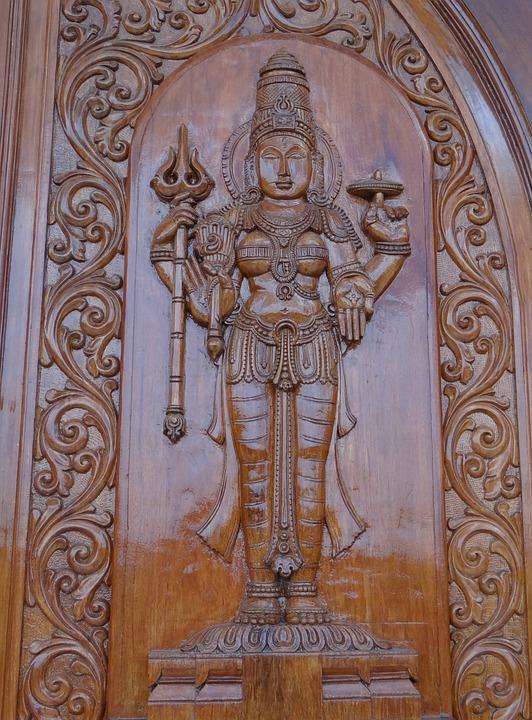 Wood Sculpture Door : Free photo carving wooden goddess lakshmi image