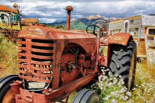 トラクター, 古い, アンティーク, 放棄された, 農業, マシン, 農村