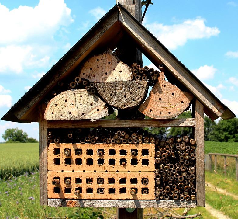 Maison abeille insect hotel nichoir pendant en bois for Abeilles dans la maison