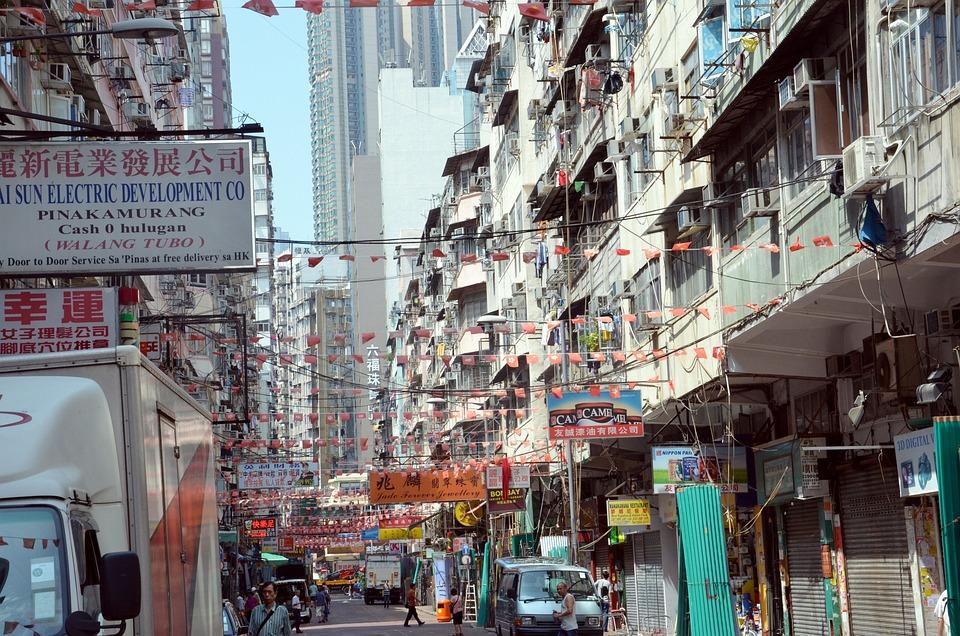 Stadt, Überfüllt, Eng, Straße, Hongkong, Wolkenkratzer