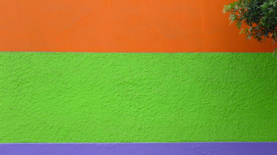 Wall Color Green Orange Violet Bright Texture