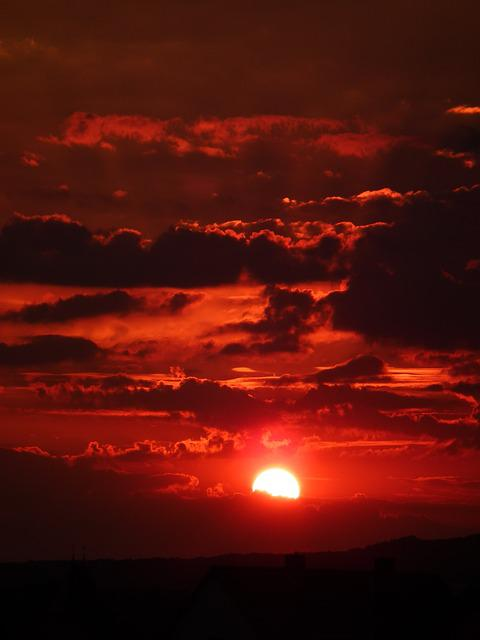 Free Photo Sun Clouds Sky Red Evening Free Image On