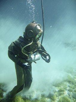 Underwater, Divers, Helmet Diver