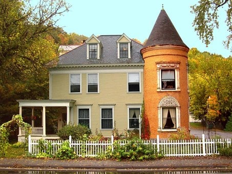 New England Vermont Colonial House Fall Hi