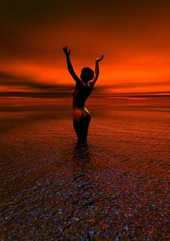 Nude, Sunrise, Woman, Naked, Adult, Sun