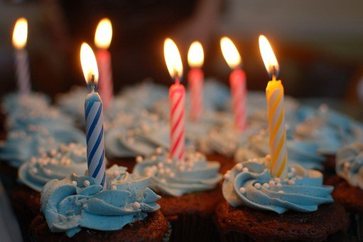 Cupcakes, Candles, Birthday, Candlelight