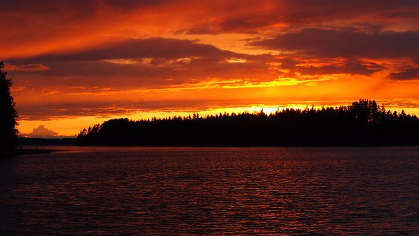 Sunset, Midsummer, Lake, Orange, Finnish