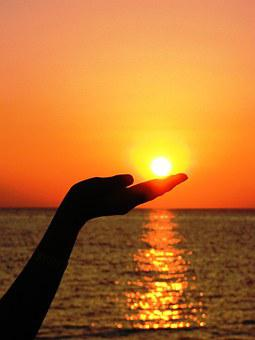 Sun, Hand, Finger, Light, Summer, Sea