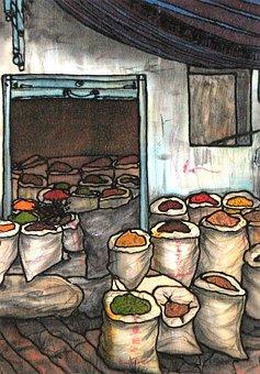 絹の絵画, 絵画, 市場, スパイス, バッグ, シルク, カラフル, アート