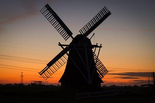 Windmill, Rural, Twilight, Netherlands