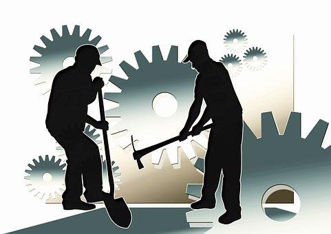 Trabajo, trabajadores, hombres, cara, silueta