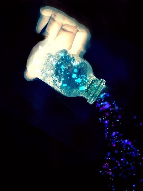 free illustration glass bottle light magic blue