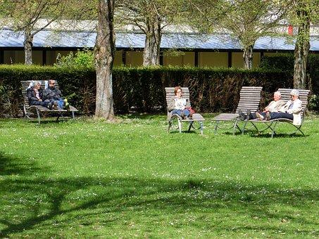 年金受給者, 公園, リラックス, 緑, 草, 風景, 牧草地