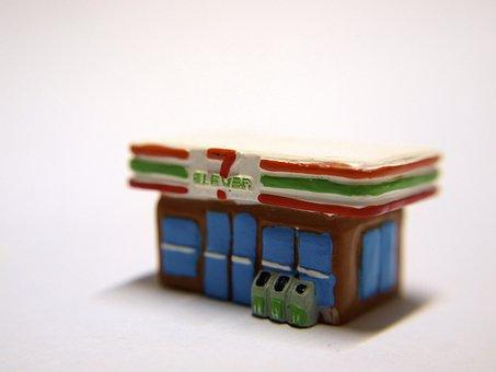 ストア, おもちゃ, セブン イレブン, マクロ, ミニチュア, 小さな, ミニ
