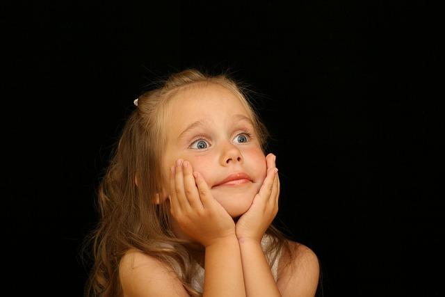 女の子, 子, びっくりしました, びっくり, 喜び, 肖像画, 人, 目, 見