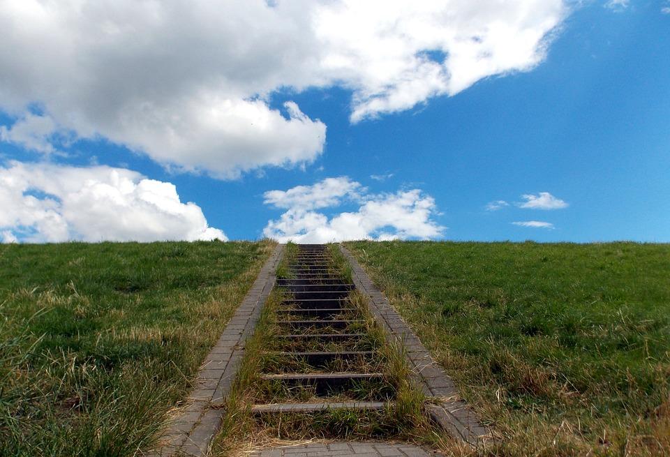 Dike, Stone Stairway, Stairs, Sky, Clouds