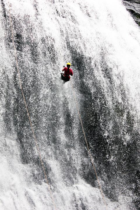 Waterfall Man Climbing Rappelling