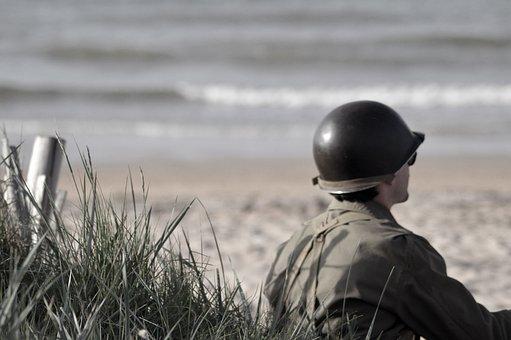 兵士, 戦争, ノルマンディー, リンク先, 記念, D 日, 第二次世界大戦
