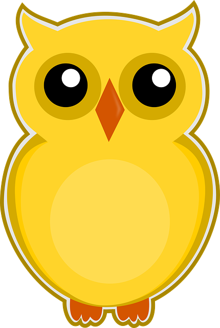 Free Illustration Owl Yellow Bird Cute Animal Free