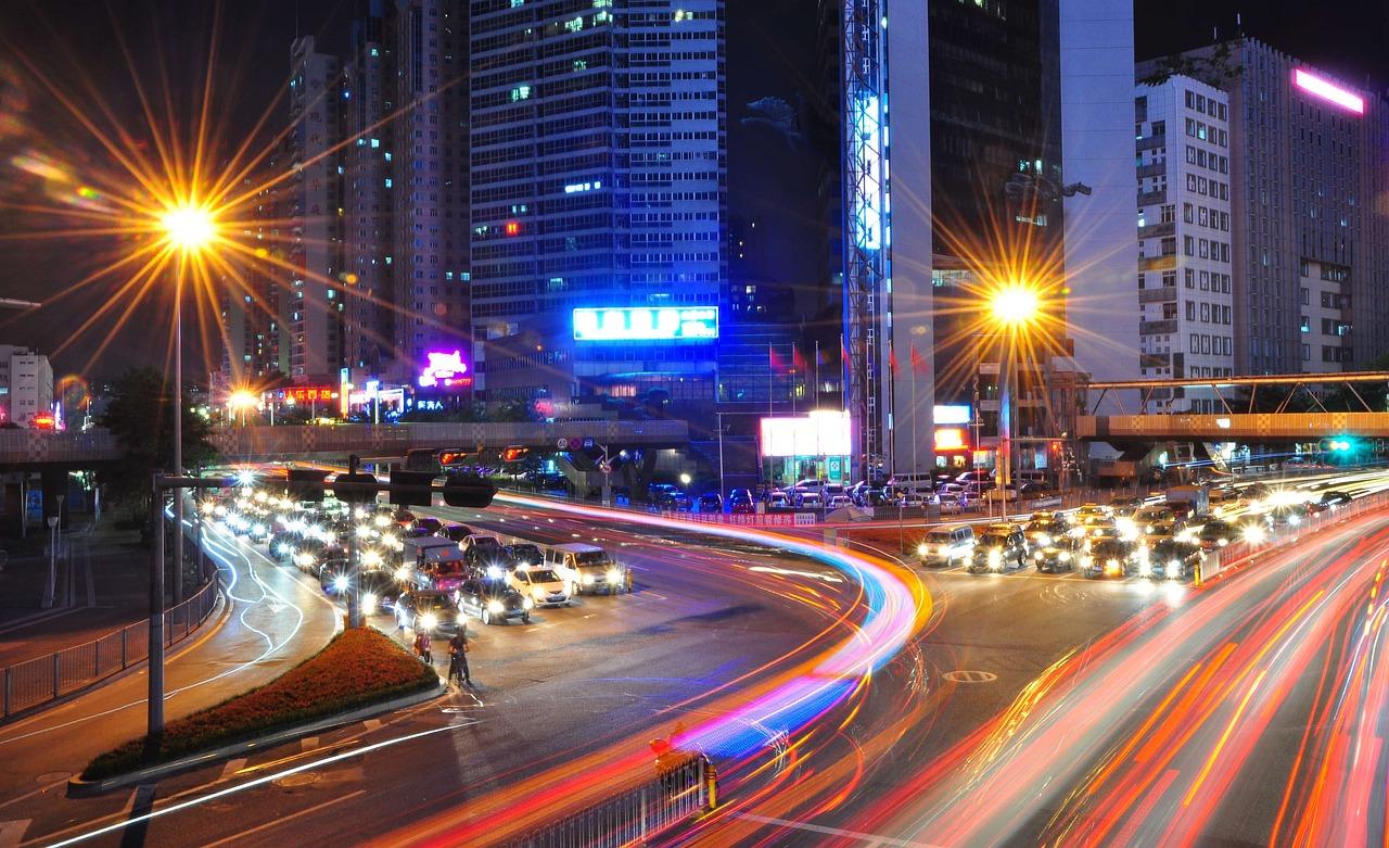 Światło, Ruchu, Shenzhen, Noc, Samochody, Przejście