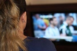 女性, テレビを見てください, テレビ, Fifa ワールド カップ, ゲーム