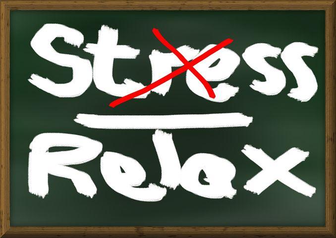ストレス, リラクゼーション, ボード, リラックス, 単語, 電圧