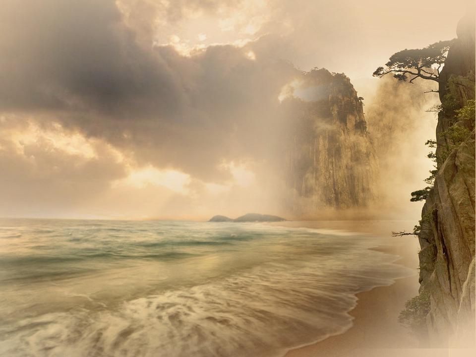 Strand, Paradis, Dream Beach, Skyer, Drømme, Hav, Sten