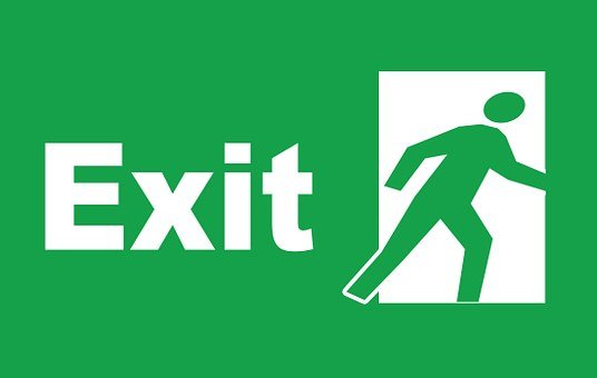 Sign, Exit, Emergency, Symbol, Direction