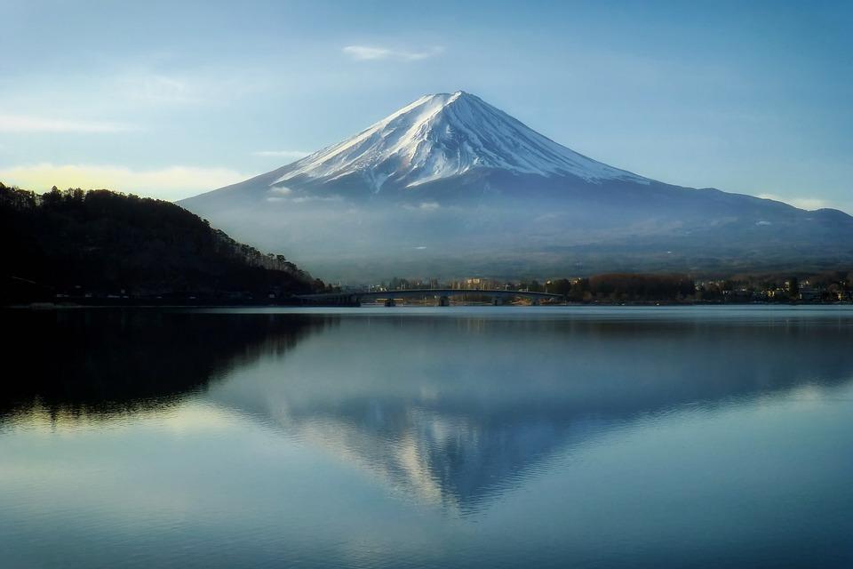 富士山, 日本, 山, ランドマーク, 空, 雲, 湖, 水, 風景, 風光明媚な, 森林, 林, 木, 反射