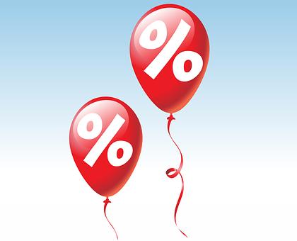 バルーン, 賞, パーセント, 安い, 最終的な販売, 割引, 利点, 赤, 白