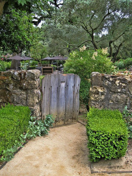 Free photo rustic wood gate garden path free image for Garden gate designs wood rustic