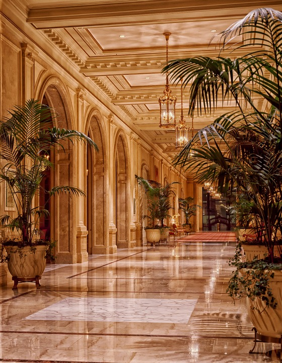ロビー, ホテル, インテリア, 廊下, ライト, 点灯, 豪華です, 建物, シェラトンパレスホテル